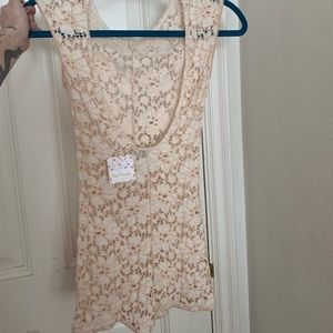 Free people pink ivory lace romper